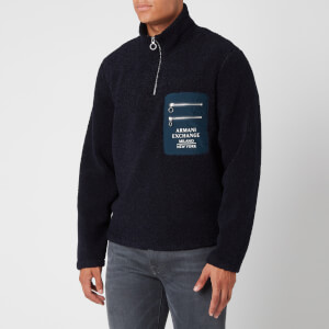 Armani Exchange Men's Fleece Quarter Zip Sweatshirt - Deep Navy