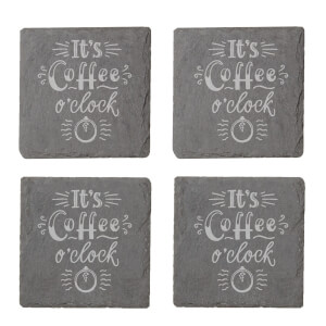 It's Coffee O'Clock Engraved Slate Coaster Set