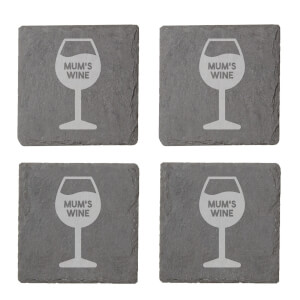Mum's Wine Engraved Slate Coaster Set