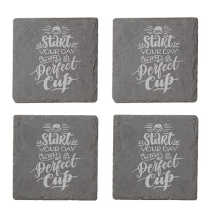 Start Your Day With A Perfect Cup Engraved Slate Coaster Set from I Want One Of Those