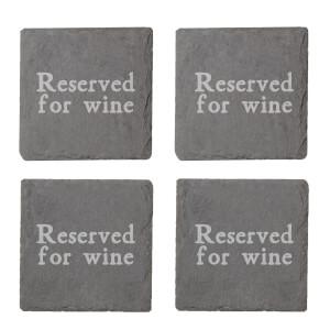 Reserved For Wine Engraved Slate Coaster Set