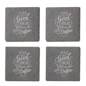 Good Ideas Start With Coffee Engraved Slate Coaster Set from I Want One Of Those