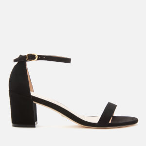 Stuart Weitzman Women's Simple Suede Block Heeled Sandals - Black