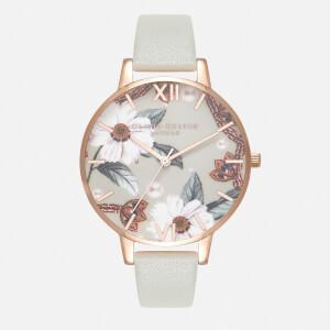 Olivia Burton Women's Bejewelled Florals Watch - Grey/Rose Gold