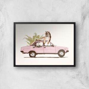 Tiger On Car Giclee Art Print