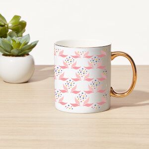 Leaves And Flowers Bone China Gold Handle Mug
