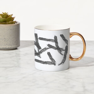 Paint Strokes Bone China Gold Handle Mug