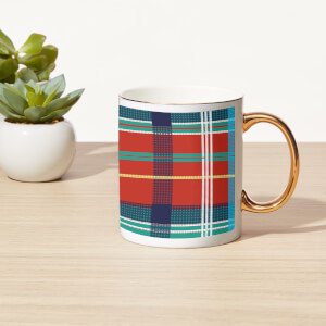Tartan Bone China Gold Handle Mug