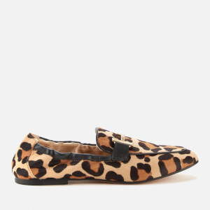 Tod's Women's Double T Leather Leopard Print Loafers - Camel