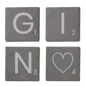 Gin Engraved Slate Coaster Set