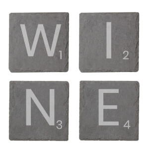 Wine Engraved Slate Coaster Set