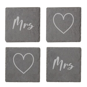 Mrs And Mrs Engraved Slate Coaster Set