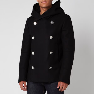 Balmain Men's Hooded Wool Pea Coat - Black