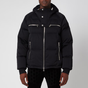 Balmain Men's Hooded Nylon Down Jacket - Black