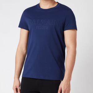 Balmain Men's Embossed Logo T-Shirt - Blue