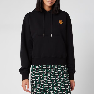 KENZO Women's Boxy Fit Hoodie Tiger Crest - Black
