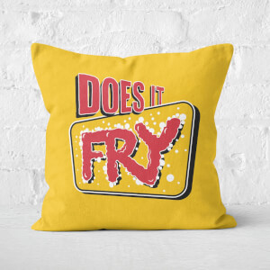 Cushion Does It Fry Logo Yellow Square Cushion