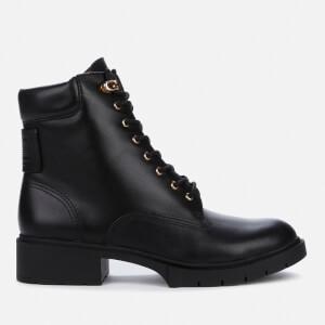 Coach Women's Lorimer Leather Lace Up Boots - Black
