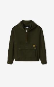 KENZO Men's Half Zip Anorak Jacket - Khaki