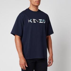 KENZO Men's Multicolour Logo T-Shirt - Navy Blue
