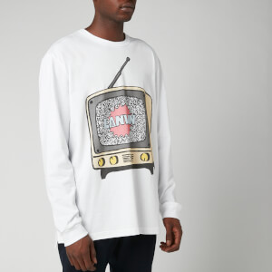 Lanvin Men's TV Print Long Sleeve T-Shirt - White