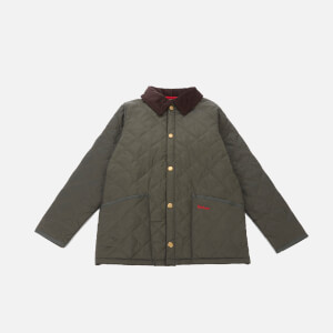 Barbour Heritage Boys' Liddesdale Quilt Jacket - DK Olive/Red
