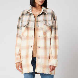 Free People Women's Anneli Plaid Shirt Jacket - Ivory Combo