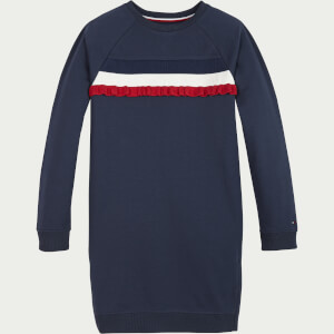 Tommy Hilfiger Girls' Ruffle Rib Sweatshirt Dress - Twilight Navy