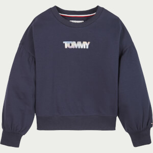 Tommy Hilfiger Girls' Iridescent Badge Crew Neck Sweatshirt - Twilight Navy