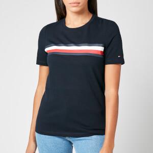 Tommy Hilfiger Women's Regular Crew Neck Global Stripe T-Shirt - Desert Sky