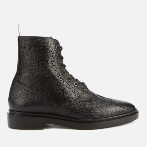 Thom Browne Women's Classic Pebble Grain Wingtip Boots - Black