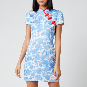 De La Vali Women's Suki Printed Jacquard Short Dress - Blue Primrose