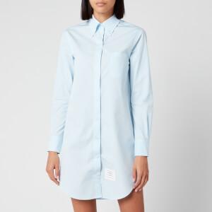 Thom Browne Women's Classic Long Sleeve Button Down Shirt Dress - Light Blue