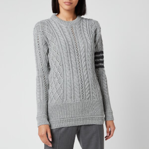 Thom Browne Women's Aran Cable Relaxed Crew Neck Sweatshirt - Light Grey