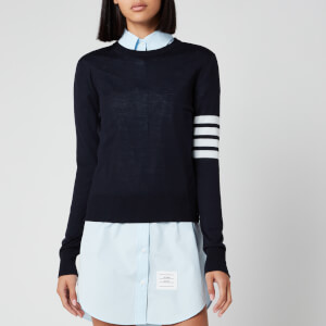Thom Browne Women's Relaxed Fit Crew Neck Pullover - Navy