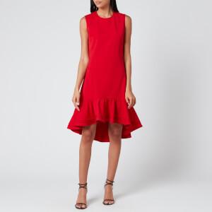 Victoria, Victoria Beckham Women's Pintuck Flounce Hem Shift Dress - Postbox Red