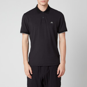 C.P. Company Men's Box Logo Polo Shirt - Black
