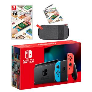 Nintendo Switch (Neon Blue/Neon Red) 51 Worldwide Games Pack