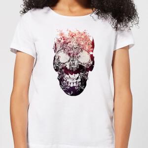 Ikiiki Floral Skull Women's T-Shirt - White
