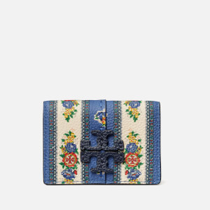 Tory Burch Women's Mcgraw Floral Tri-Fold Mini Wallet - Blue Tea Rose Border