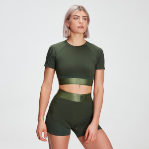 Dámsky crop top MP Adapt Textured – tmavozelený