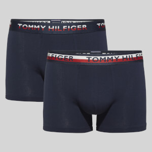 Tommy Hilfiger Men's Tommy Th2 Reverse Waistband 2 Pack Trunks - Blue/White