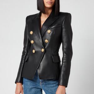 Balmain Women's 6 Button Leather Jacket - Black