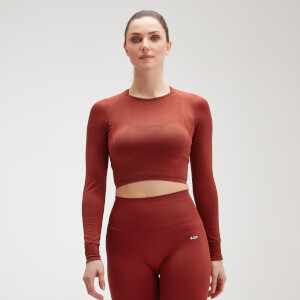 MP Women's Shape Seamless Ultra Long Sleeve Crop Top - Burnt Red
