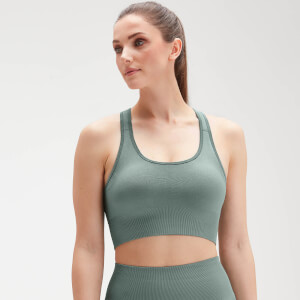 Naisten MP Shape Seamless Ultra Cross Strap -urheilutoppi − Washed Green