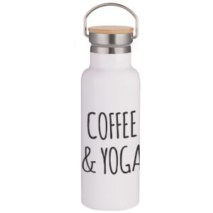 Coffee & Yoga Portable Insulated Water Bottle - White