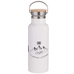 Dad Camping Legend Portable Insulated Water Bottle - White