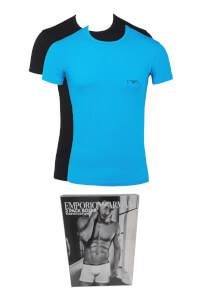 Emporio Armani Men's Monogram Twin Pack T-Shirts - Blue