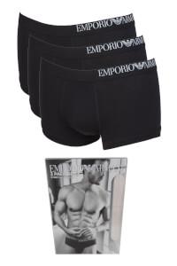 Emporio Armani Men's 3 Pack Side Logo Trunk Boxer Shorts - Black