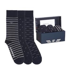 Emporio Armani Men's 3 Pack Stripe Socks - Multi